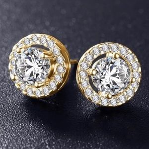 0cf6c6702fa8b4 New 14k gold plated stimulated diamond earrings